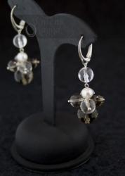 Dūminio kvarco, kalnų krištolo ir perlų auskarai STELA