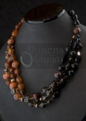 Dūminio kvarco, karneolio, onikso, perlų, jaspio vėrinys GAJA