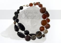 Dūminio kvarco, karneolio, jaspio, onikso ir perlų apyrankė GAJA