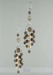 Dūminio kvarco ir perlų auskarai ELIZA