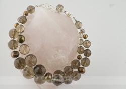 Dūminio kvarco ir perlų apyrankė KLAUDIJA