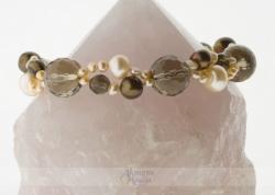 Dūminio kvarco ir perlų apyrankė MEDA