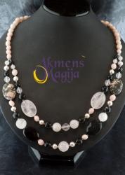 Opalo, rodonito, rožinio kvarco ir onikso vėrinys JULIJANA