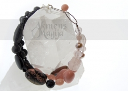 Rožinio kvarco, oniksų, rodonito  ir perlų apyrankė AFRODITĖ